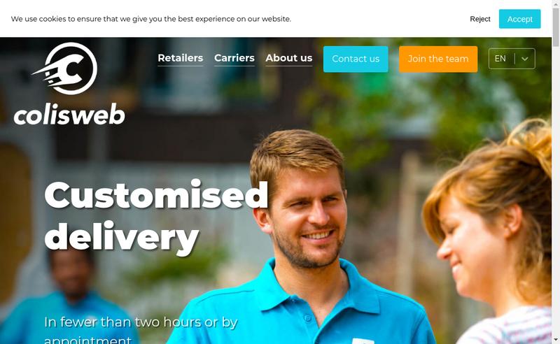 Capture d'écran du site de Colisweb