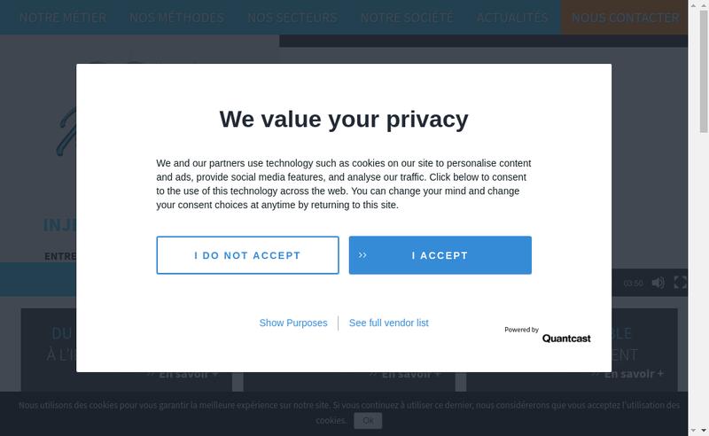 Capture d'écran du site de Com Inject