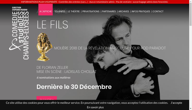 Capture d'écran du site de Comedie des Champs Elysees