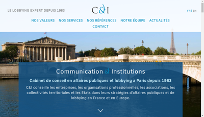 Capture d'écran du site de Communication & Institutions