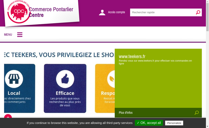 Capture d'écran du site de Commerce Pontarlier Centre