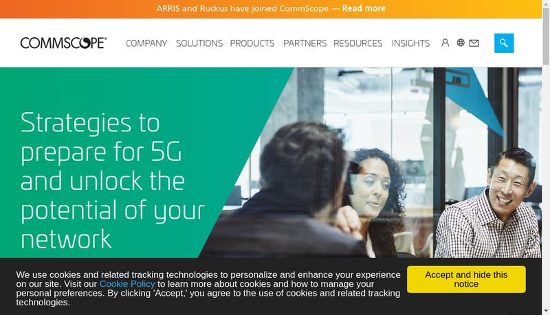 Capture d'écran du site de Commscope France