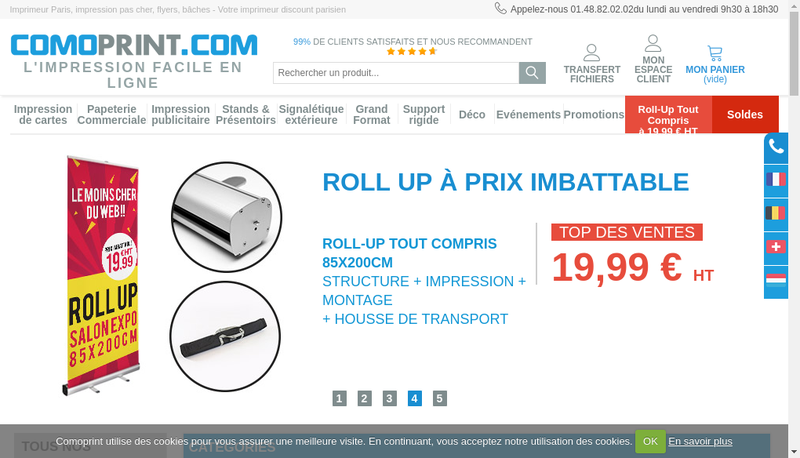 Capture d'écran du site de Comosol Group