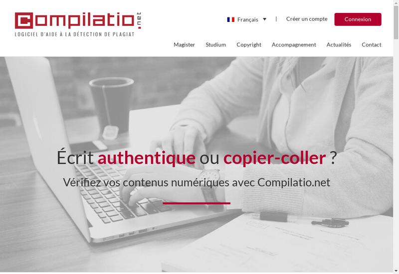 Capture d'écran du site de Compilatio
