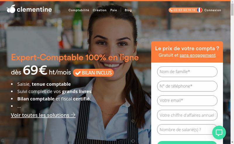 Capture d'écran du site de CLEMENTINE, Expert-Comptable en ligne