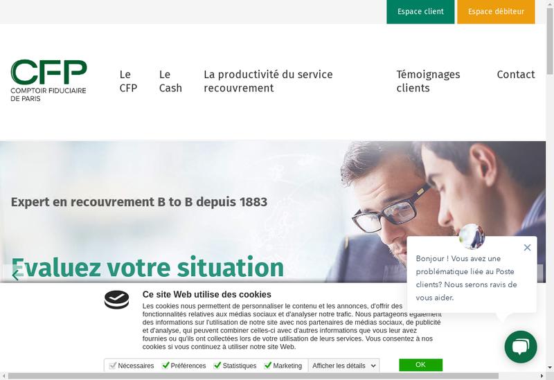 Capture d'écran du site de Comptoir Fiduciaire de Paris SA