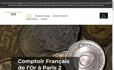 Site internet de Cfo Comptoir Francais de l'Or