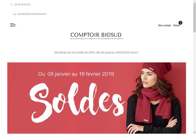 Capture d'écran du site de Comptoir Biosud