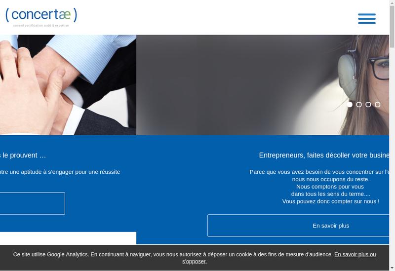 Capture d'écran du site de Concertae