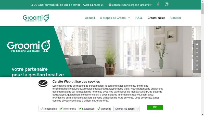 Capture d'écran du site de Groomi