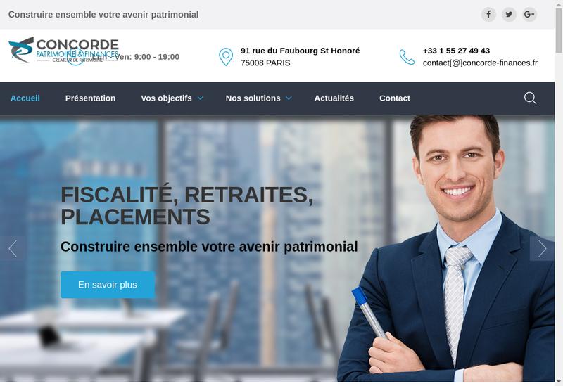 Capture d'écran du site de Concorde Finance