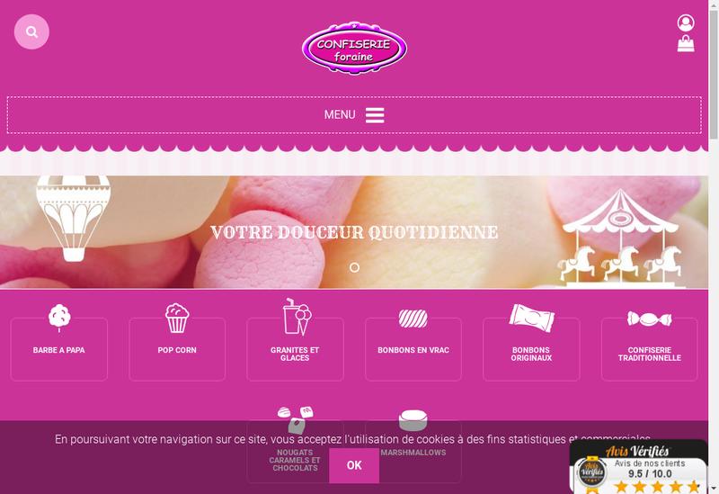 Capture d'écran du site de Confiserie Foraine