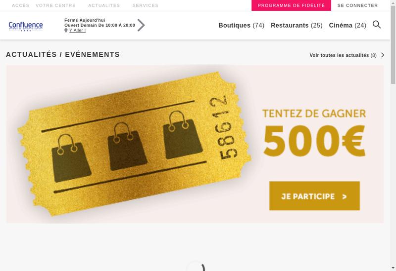 Capture d'écran du site de Optique Confluence