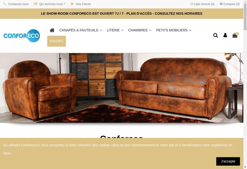 Capture d'écran du site de Conforeco