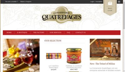 Capture d'écran du site de Conserverie Quatrefages