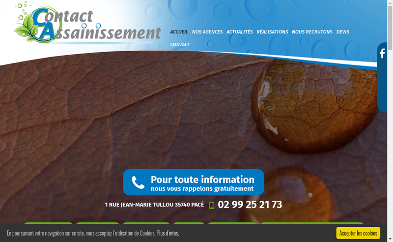 Capture d'écran du site de Contact Assainissement