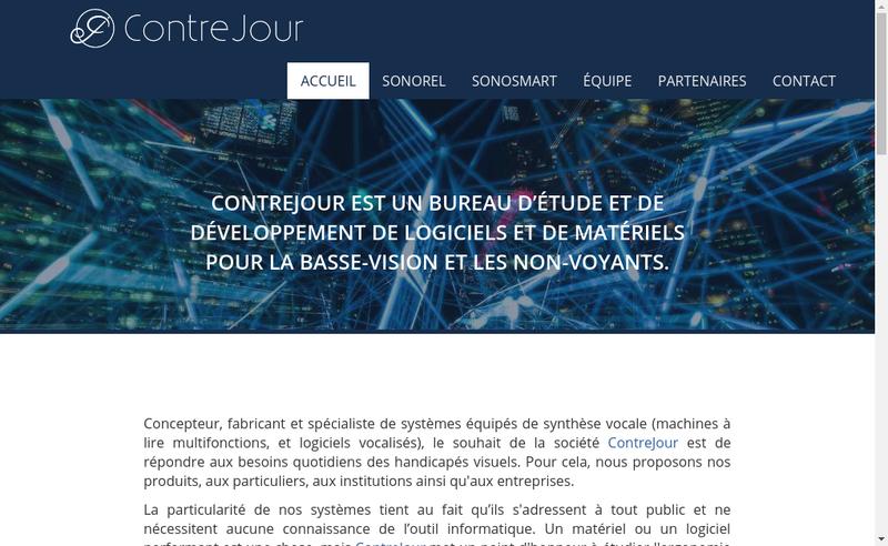 Capture d'écran du site de Contrejour