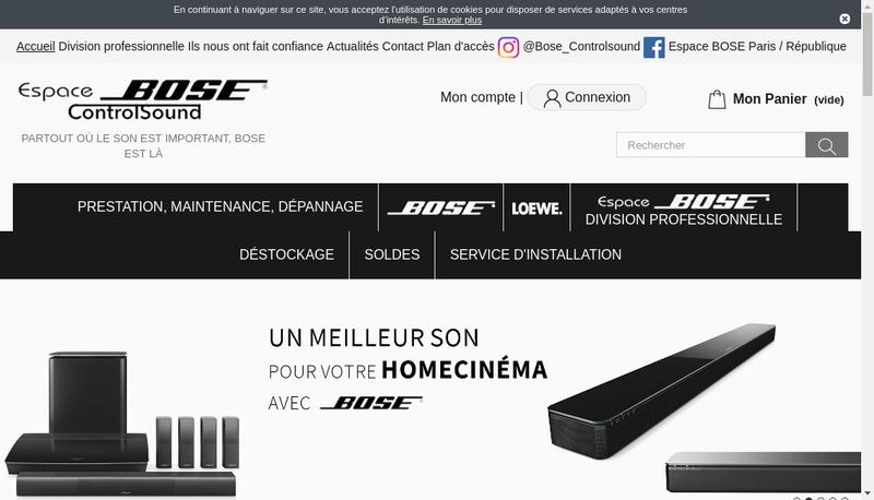 Capture d'écran du site de Controlsound