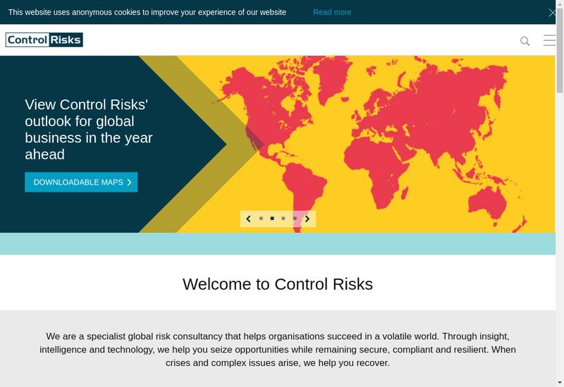 Capture d'écran du site de Control Risks France