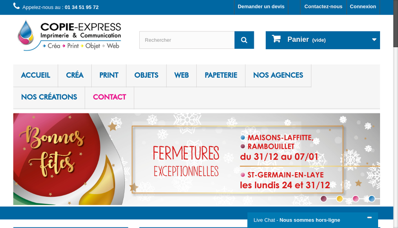 Capture d'écran du site de Copie Express les Charmettes