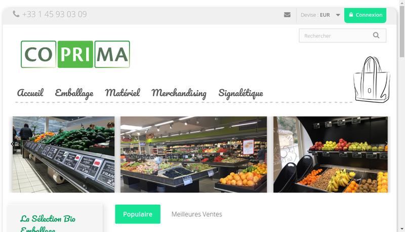 Capture d'écran du site de Coprima