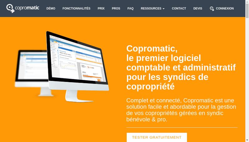 Capture d'écran du site de Copromatic