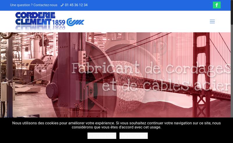 Capture d'écran du site de Corderie Clement