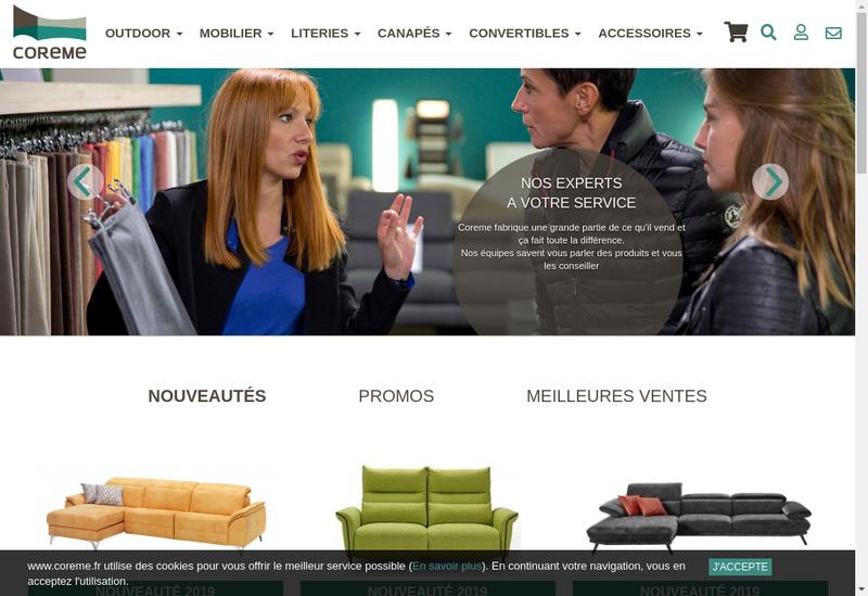 Capture d'écran du site de SARL Coreme