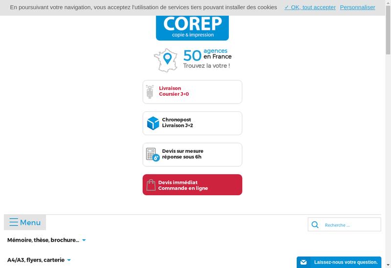 Capture d'écran du site de Corep