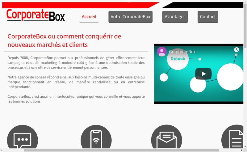 Capture d'écran du site de Corporate Box