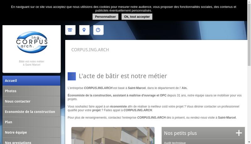 Capture d'écran du site de Corpus Ing Arch