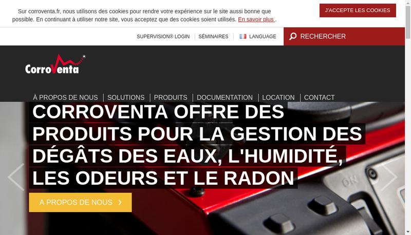 Capture d'écran du site de Corroventa Deshumidification