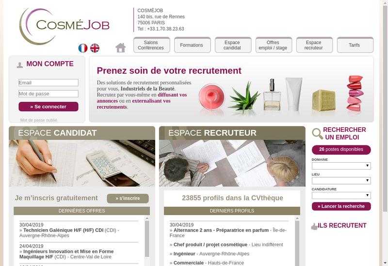 Capture d'écran du site de Cosmejob SARL