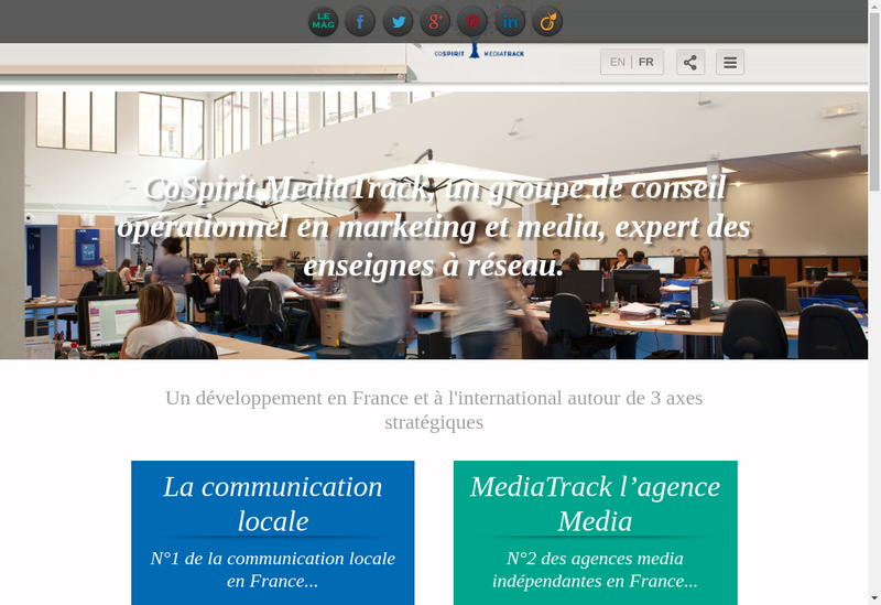 Capture d'écran du site de Media Track