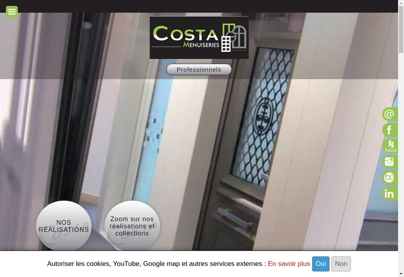 Capture d'écran du site de Costa Menuiseries