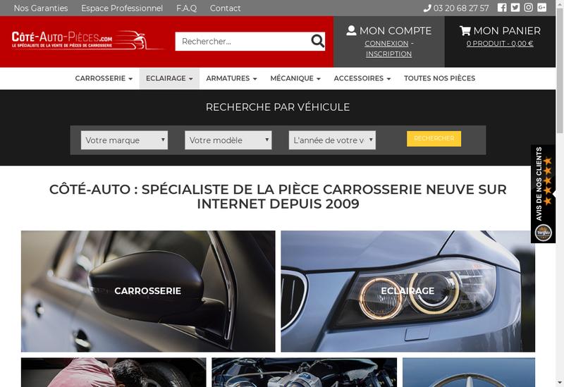 Capture d'écran du site de Cote Auto