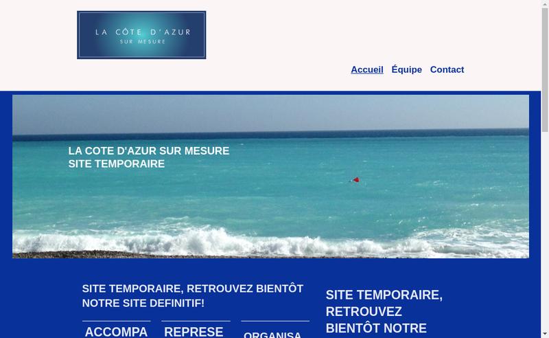 Capture d'écran du site de La Cote d'Azur sur Mesure