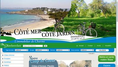 Site internet de Cote Mer Cote Jardin Immobilier