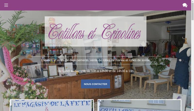 Capture d'écran du site de Cotillons et Crinolines