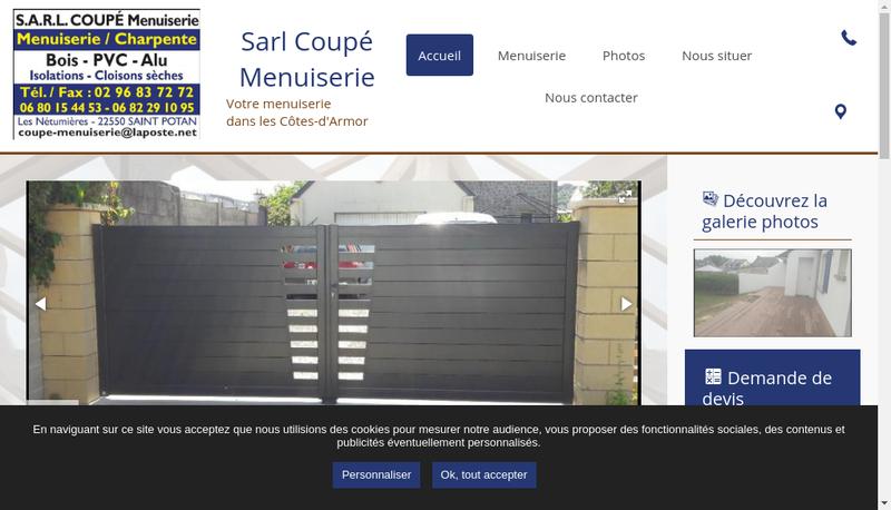 Capture d'écran du site de Coupe Menuiserie