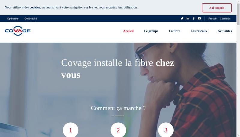 Capture d'écran du site de Covage