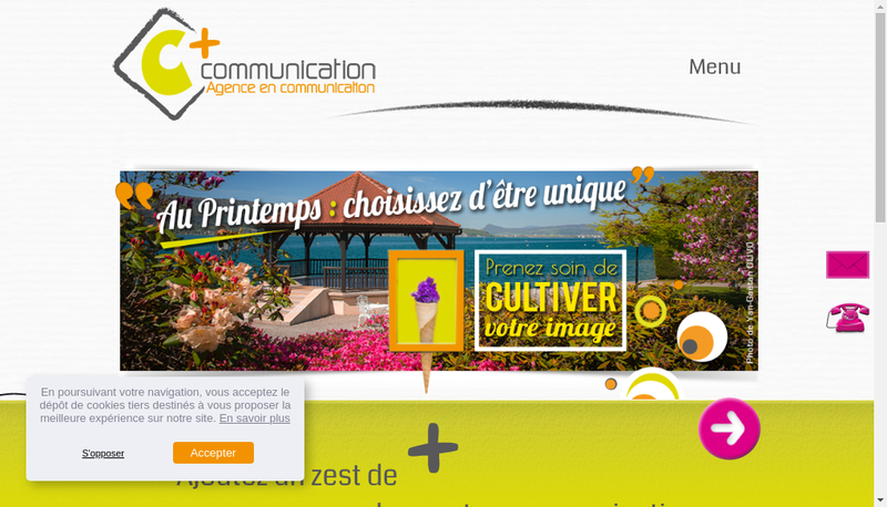 Capture d'écran du site de C+ Communication