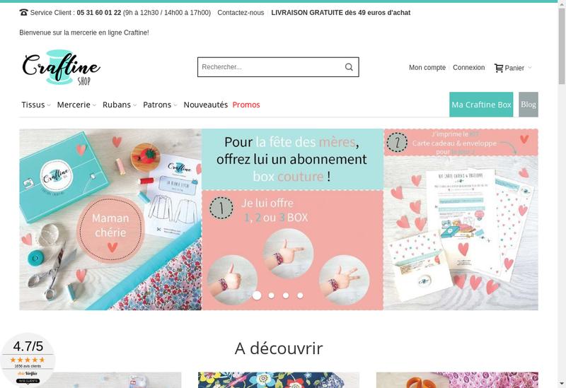 Capture d'écran du site de Craftine