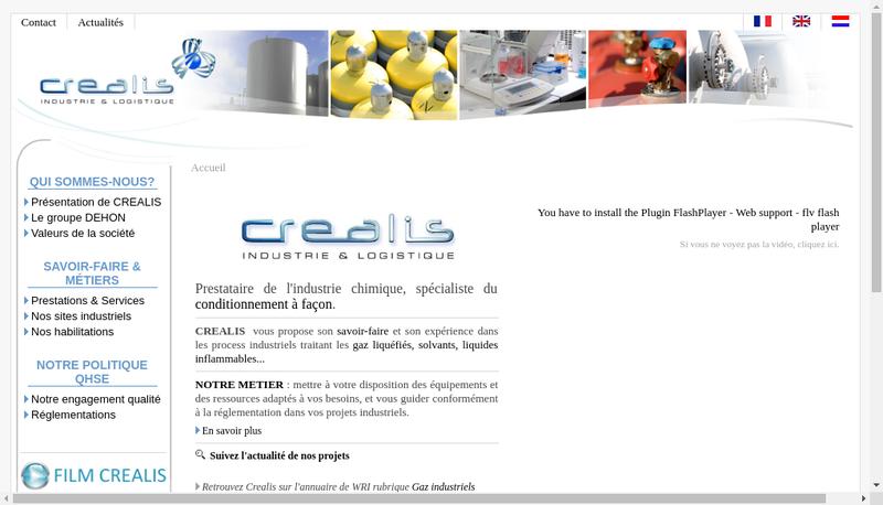 Capture d'écran du site de Crealis