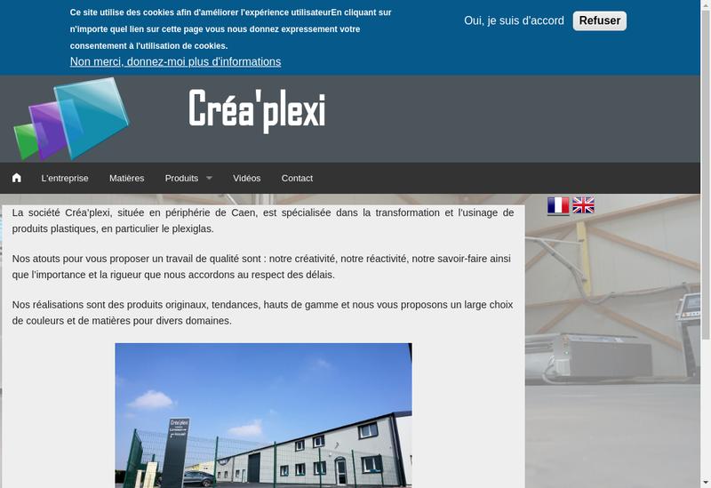 Capture d'écran du site de Crea Plexi