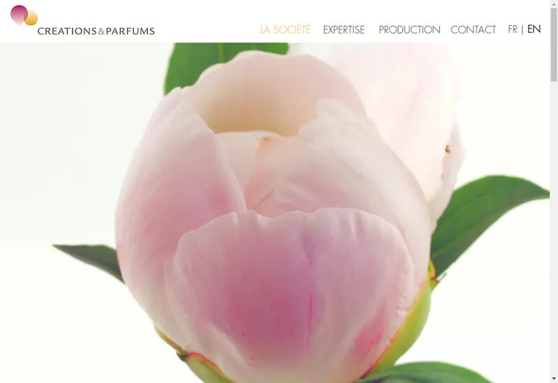 Capture d'écran du site de Creations et Parfums