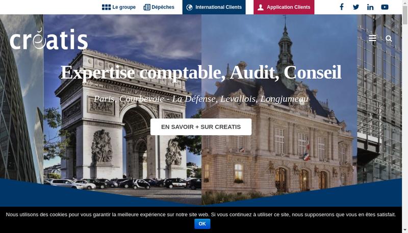 Capture d'écran du site de Creatis Audit