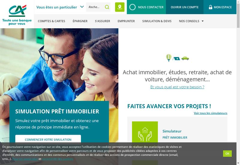 Capture d'écran du site de Crédit Agricole
