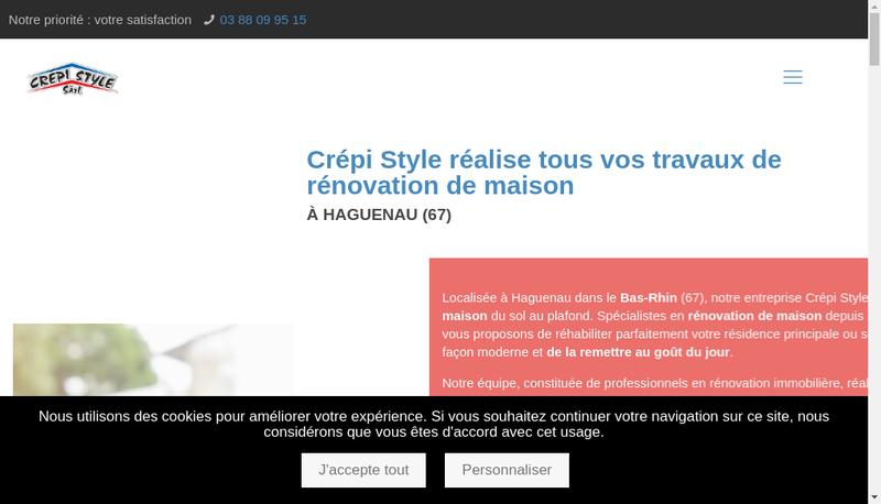 Capture d'écran du site de Crepi Style
