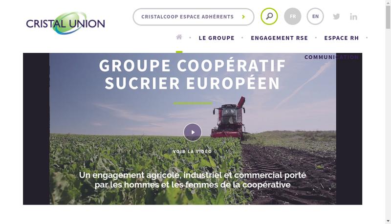 Capture d'écran du site de Cristal Union